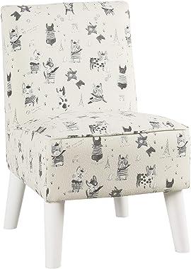 HomePop Youth Modern Armless  Slipper Chair, French Bulldog Print