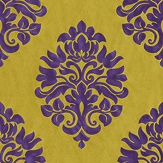 545760 - En Suite Damask Green & Purple Galerie Wallpaper