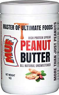 MUF Natural Unsweetened Crunchy High Protein, Vegan, Zero Sugar Peanut Butter (1 Kg)