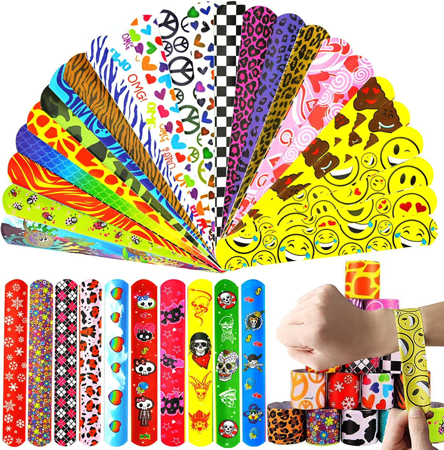 Slap Bracelets for Kids Party Favors, 68 Pack  (34 Designs) with colorful Sweetheart Animal Pirate for Boys Girls Holiday Party Classroom Exchange Gifts
