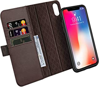 iPhone Xs/X Case ZOVER Detachable Genuine Leather Wallet Case Support Wireless Charging Magnetic Car Mount Holder Kickstand Feature Magnetic Closure Gift Box Dark Brown