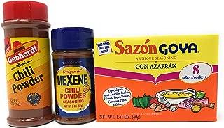 Chilli Powder bundle Includes Goya Sazon con Azafran, Gebhart Chili Powder and Mexene Chili Powder