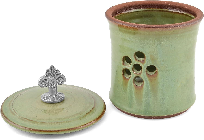 Pistachio by Oregon Stoneware Studio Oregon Stoneware Studio Fleur de Lys Garlic Pot with Pewter Finial