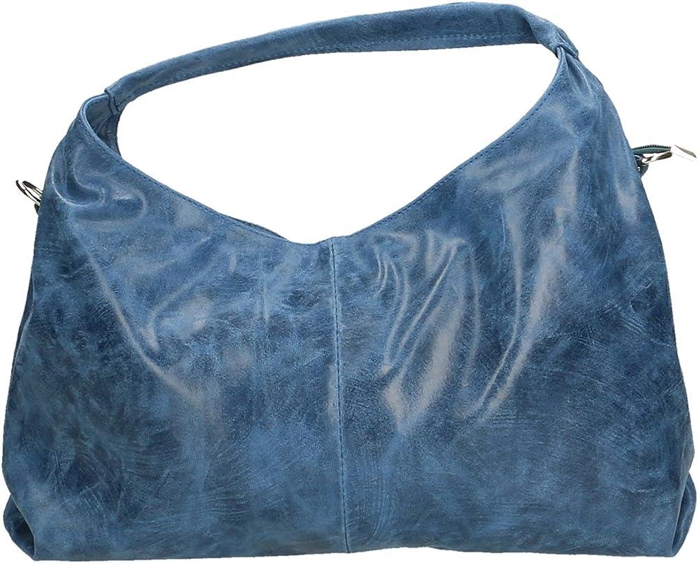 Chicca borse ctm, borsa a spalla da donna in vera pelle effetto stampato, con tracolla 80053-BLUJEANS