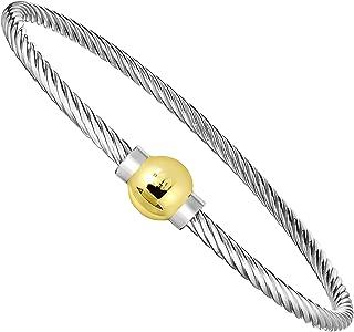 Ocean Side Bracelet 925 Sterling Silver and 14K Solid Gold Ball Screw Twisted Bangle Bracelet.