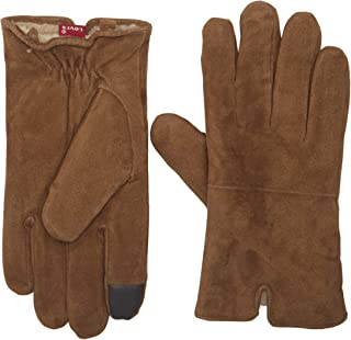 Men's Suede Gloves With Knit Grip and Touchscreen Capability