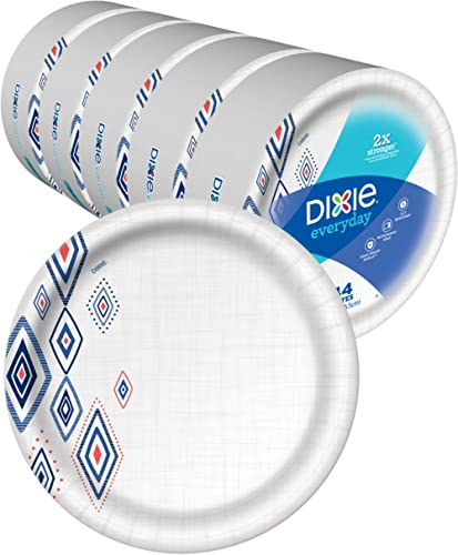 "Dixie Everyday Paper Plates,10 1/16"" Plate, Amazon Exclusive, Dinner Size Printed Disposable Plates"
