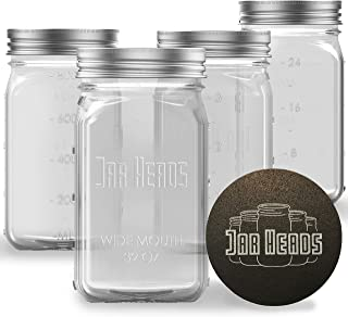 Jar Heads Wide Mouth Mason Jars 32 oz - 4Pack Canning Jars with Rubber Jar Opener - Mason Jar Storage Containers Pickle Ja...