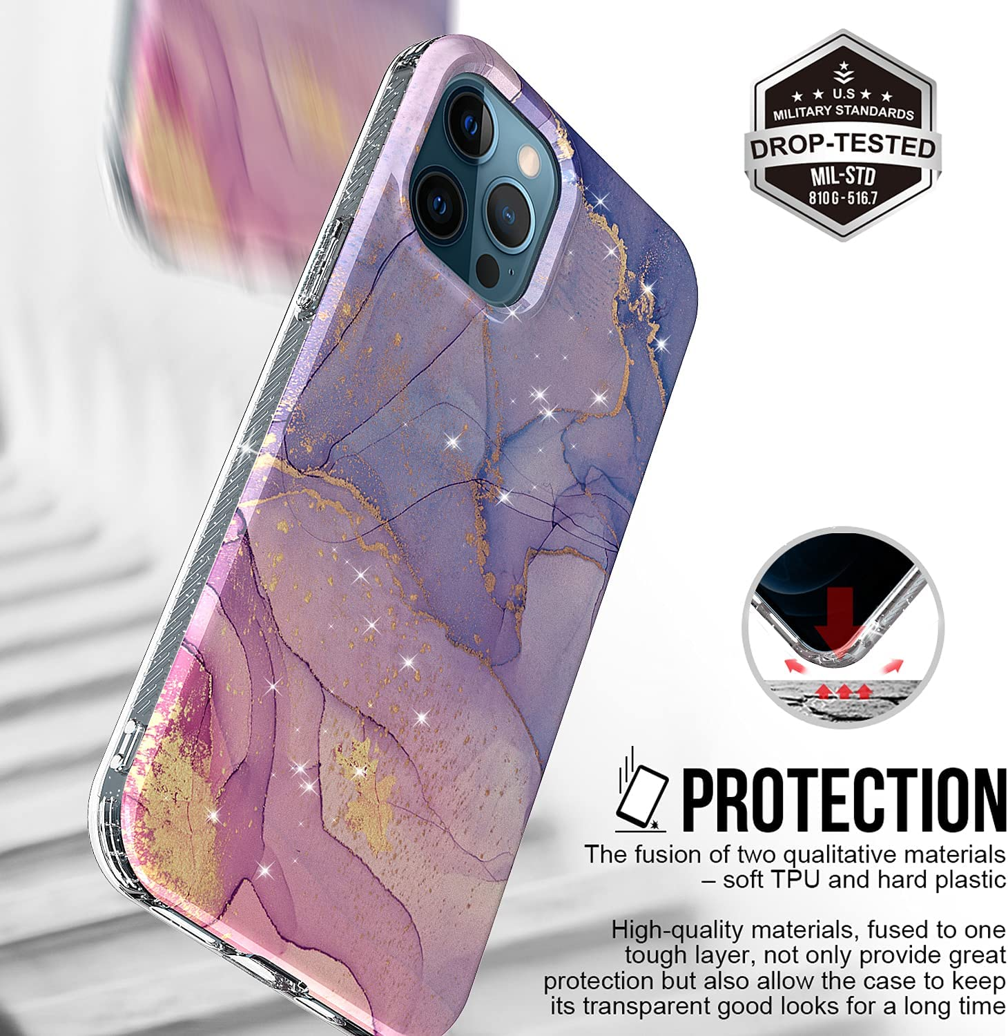 Muntinfe Gold Glitter Sparkle Case Compatible with iPhone 12 Pro Max 6.7 Inch Marble Design Girls Women Shockproof Hard Back + Glitter Soft TPU Bumper Anti-Yellow Protective Phone Cover, Marble Purple
