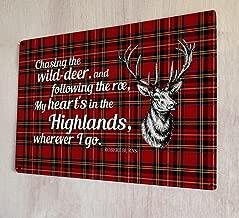 Artylicious My Heart's in The Highlands Poem Robert Burns Quote Scottish Tartan A4 Retro Metal Sign Door Wall Art