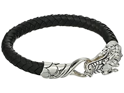 John Hardy Legends Naga 7.5mm Bracelet in Black Leather (Silver) Bracelet