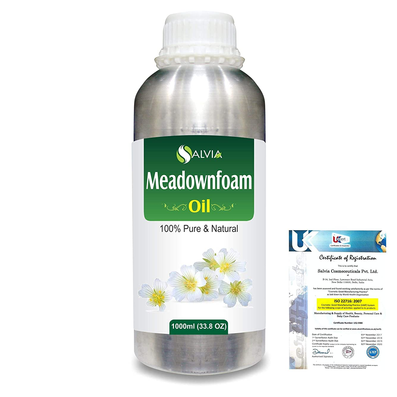 官僚真実概要Meadowfoam Seed (Limnanthes alba)100% Natural Pure Carrier Oil 1000ml/33.8fl.oz.