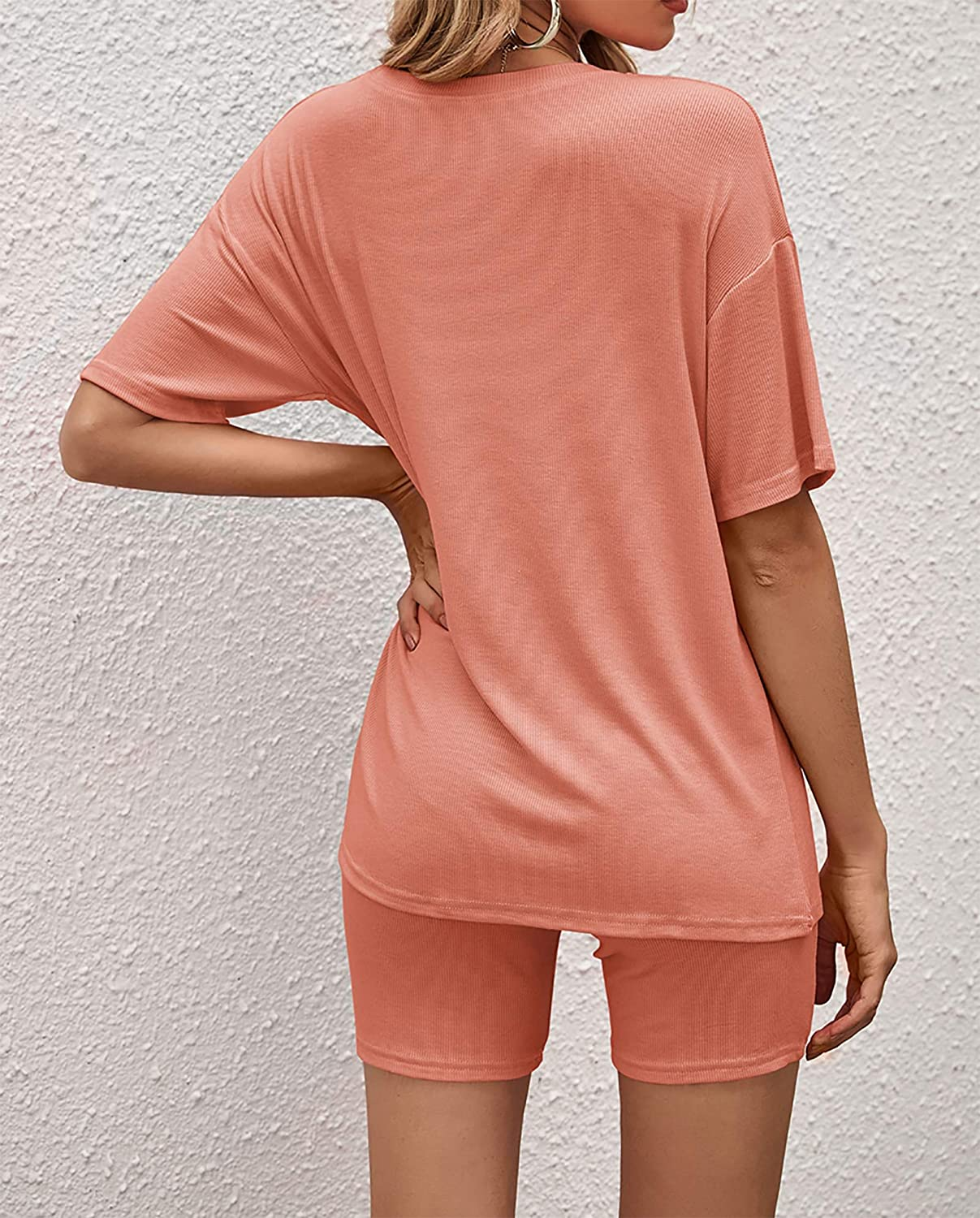 Jhsnjnr Womens Summer Outfits Casual Short Sleeve T Shirts Elastic Bodycon Shorts 2 Pieces