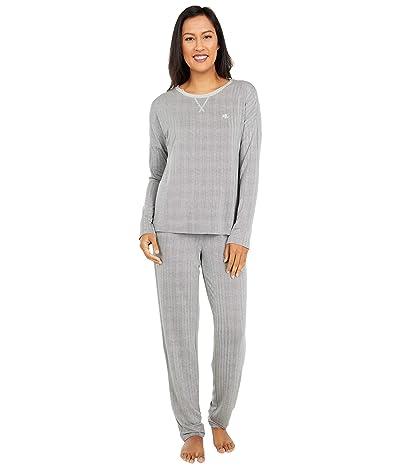 LAUREN Ralph Lauren French Terry Long Sleeve Scoop Neck Joggers Pajama Set (Grey Print) Women