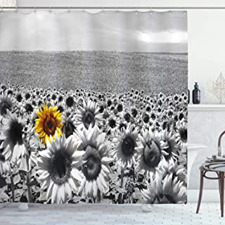 Ambesonne Wide Tap Shower Curtain by, Sunflower Field All Black and White with a Single Yellow Flower Spring Landscape Image, Fabric Bathroom Decor Set with Hooks, 70 Inches, Grey
