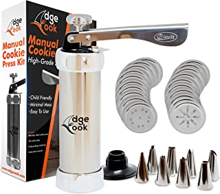 Edge Cook Spritz Cookie Press 20-Disc Gun Kit with 8 Icing Tips: Sturdy Stainless Steel - Works Even with Arthritis - Ideal for Holidays Baking - Biscuit, Cake, Churro, Cookie Maker