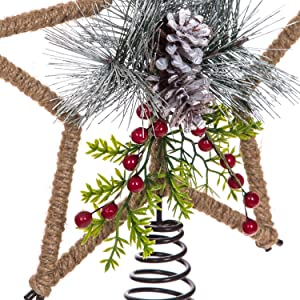 Tree Topper and Metal Star Christmas Treetop Decoration for Holiday Indoor Festive Party Home Ornaments