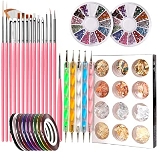 Nail Pen Designer, Teenitor Stamp Nail Art Tool with 15pcs Nail Painting Brushes, Nail Dotting Tool, Nail Foil, Manicure T...