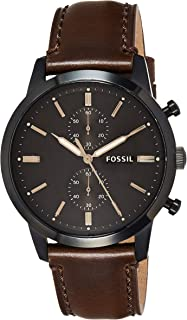 Fossil Mens Quartz Watch, Analog Display and Leather Strap FS5437