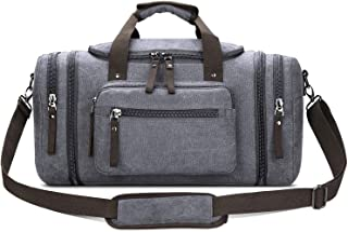 Toupons 20.8'' Large Canvas Travel Tote Luggage Weekender Duffle Bag (Grey)