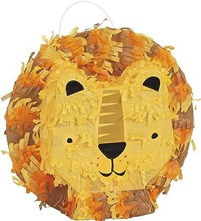 Unique Party 75896 Mini Party Lion Head Shaped 3D Pinata | 1 Pc, Multicolour