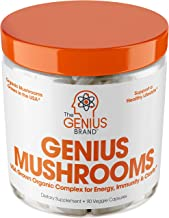 Genius Mushroom – Lions Mane, Cordyceps and Reishi – Immune System Booster & Nootropic Brain Supplement – Wellness Formula...