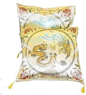 LIPENG Par de Fundas para cojín Cuadrado de Seda China Oriental 40,64 cm x 40,64 cm Dorado Diseño de Dragón