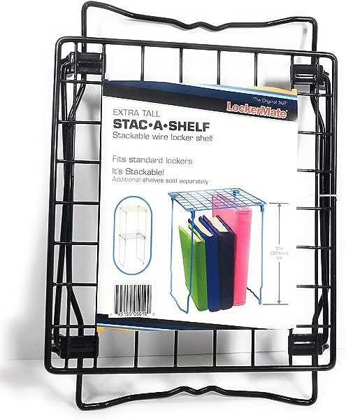 It S Academic LockerMate Stac A Shelf 12 Inch Wire Locker Shelf Black