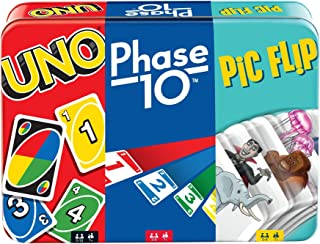 UNO, Phase 10 and Pic Flip Bundle Tin, 3 Mattel Card Games for Players 7 Year Olds & Up, Decorative Storage Tin, Gift for ...