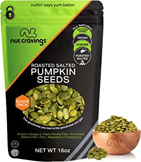 Sponsored Ad - Roasted & Salted Pumpkin Seeds, Pepitas, No Shell (16oz - 1 Pound) Packed Fresh in Resealble Bag - Nut Trai...