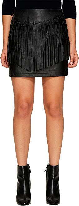Cooley Faux Leather Fringe Skirt