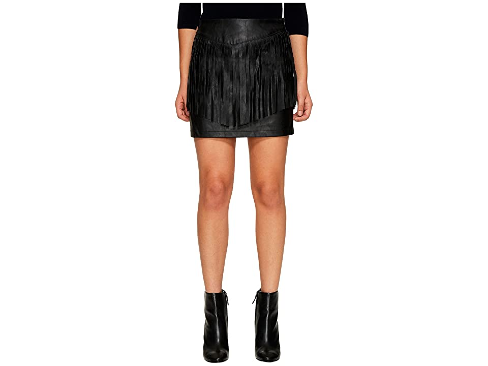 Jack by BB Dakota Cooley Faux Leather Fringe Skirt (Black) Women