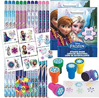Birthday Party Favor Set for 12 - 12 Frozen Pencils, 16 Frozen Tattoos, 12 Sticker Sheets, 12 Snowflake Stampers