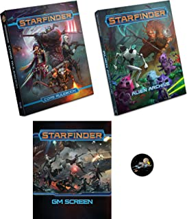 Mixed Starfinder Bundle of Core Rulebook, Alien Archive, GM Screen and a Cool Star Fighter Button