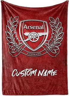 Custom Arsenal FC Fleece Throw Blanket Personalized Football Soccer Warm Lightweight Blankets Men Women Kids Apparel