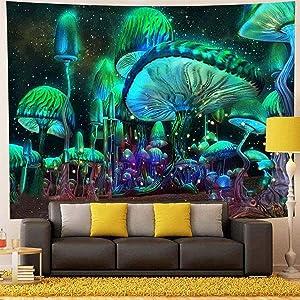 Psychedelic Green Light Mushroom Tapestry Wintage Aesthetic Mushroom Decor Galaxy Space Tapestries Wall Hanging for Bedroom Living Room Dorm Green light 59