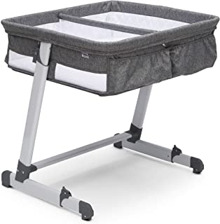 Simmons Kids By The Bed City Sleeper Bassinet for Twins - Height Adjustable Portable Crib, Grey Tweed