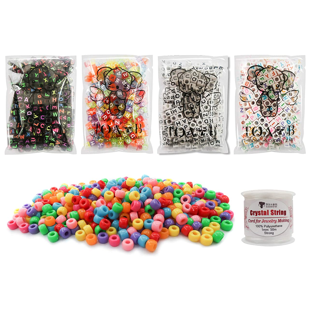 TOAOB 1200pcs 4 styles Letter Beads Acrylic Cube Multi Colors Alphabet Beads and Pony Beads kit with Elastic Cord for DIY bracelet necklace Making