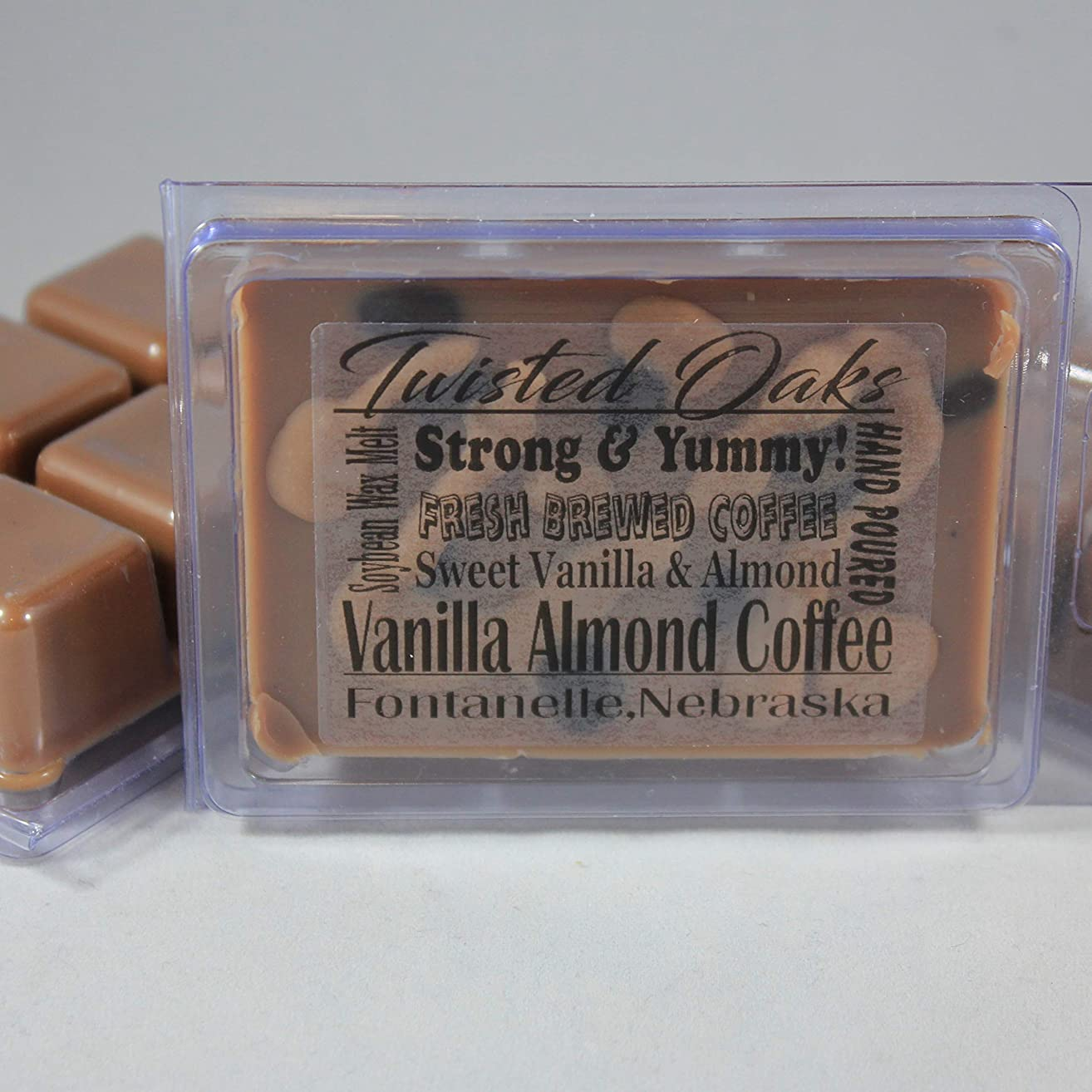 Vanilla Almond Coffee. Sweet Vanilla, Buttery Almonds, and Fresh Brewed Coffee Scent! Soybean Blend Wax Melt. Hand Poured by Twisted Oaks Wax Works, Nebraska.