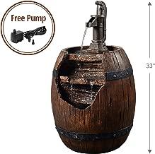 Peaktop 201610PT Vintage Pump & Barrel Outdoor Garden Water Fountain, 33