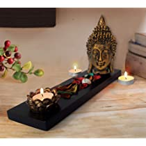 TIED RIBBONS Buddha Head Statue Tealight Candle Holder with Tray Set – Diwali Decorations Items