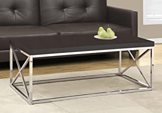 """Monarch Specialties Coffee Table - Modern Cocktail Table with Metal Base, 44"""" L (Cappuccino Silver)"""
