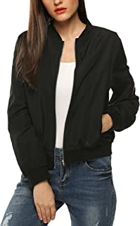 Zeagoo Women's Bomber Jacket Casual Coat Zip Up Outerwear Windbreaker