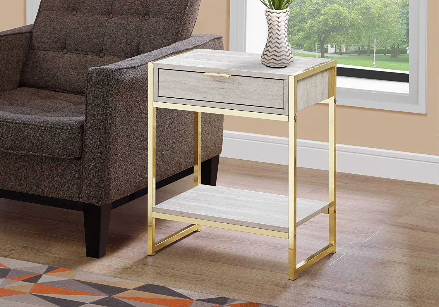 Monarch Specialties i 3483 Accent Table 24  h Beige Marble and gold Metal