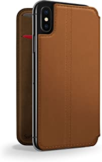Twelve South SurfacePad for iPhone X|Slim luxury leather folio with wake/sleep functionality (cognac)
