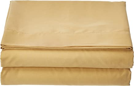 Clara Clark Supreme 1800 Collection Wirnkle Free Hypoallgenic Single Flat Sheet - Full Size,  Cmael Gold