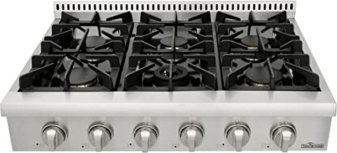 Thorkitchen Pro-Style Gas Rangetop with 6 Sealed Burners  36 – Inch, Stainless Steel HRT3618U