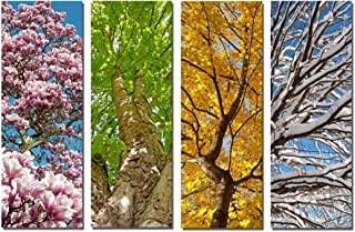 Yang Hong Yu - 4 Season Landscape Canvas Prints Forest Tree Painting Wall Art Stretched Artwork for Home Office Decorations