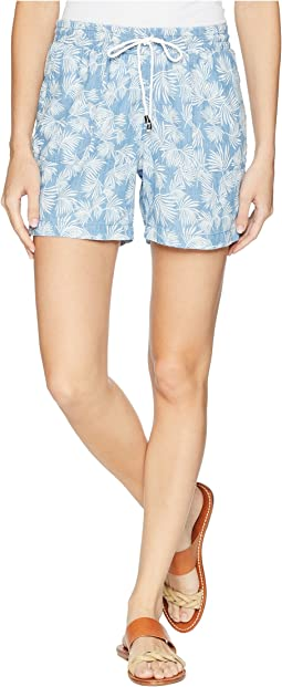 "Tribal Printed Lightweight Denim 5"" Shorts with Drawstring in Poolside"