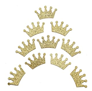 WSSROGY 100Pcs Glitter Gold Crown Confetti Paper Tiara Cake Sealing Stickers for Wedding Baby Shower